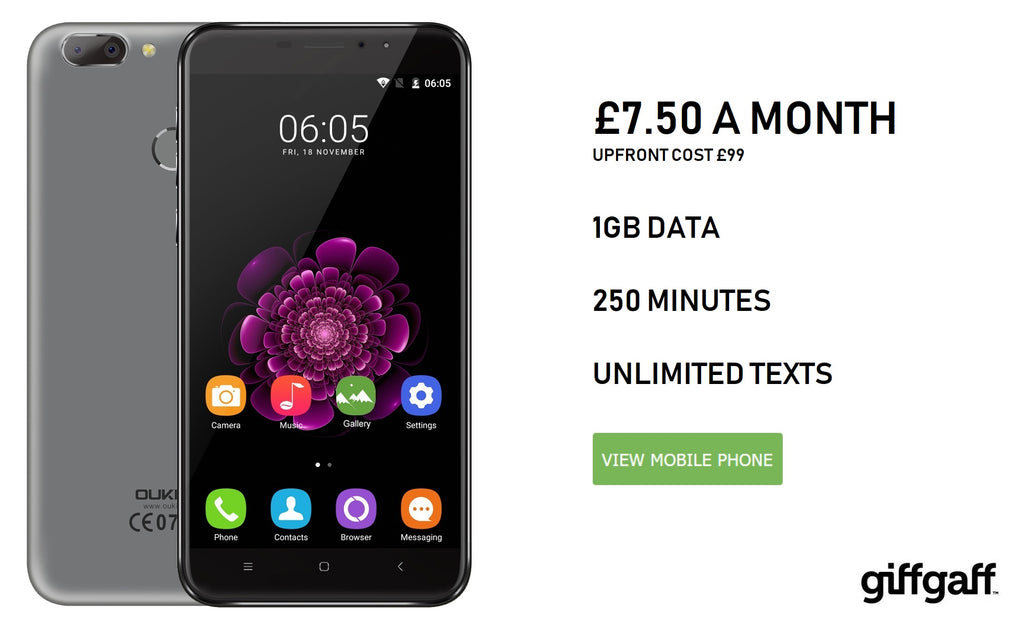Giffgaff phone £7.50 pay monthly deal £99