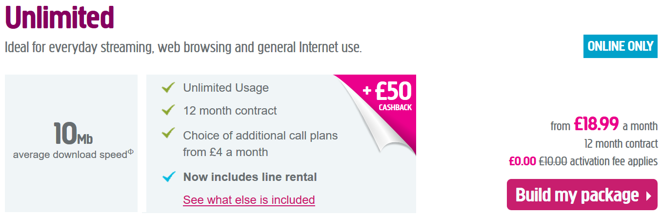 Unlimited Broadband Deal