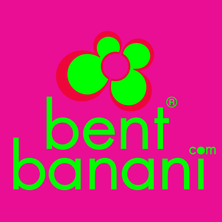 Bent Banani Brand Logo - Back To Back Red & Green 'Double B' Stylised As A Flower. Fluorescent Green Text On Purple Square