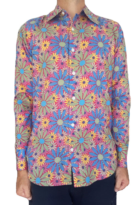 Bent Banani Men's, 100% Cotton, Long Sleeve, Floral Shirt - All-Over Blue, Yellow, Green, Pink, Sunflower Style Flowers