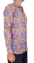 Bent Banani Full Sleeve Floral Shirt - All-Over Blue, Yellow, Green, Pink, Sunflower Style Flowers