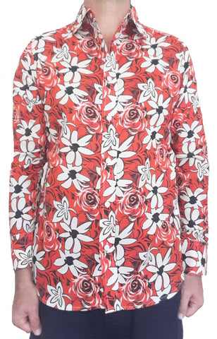 Bent Banani Men's, 100% Cotton, Long Sleeve Floral Shirt - White & Black Flowers On Bright Red