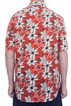 Bent Banani Men's, 100% Cotton, Short Sleeve Floral Shirt - White & Black Flowers On Bright Red