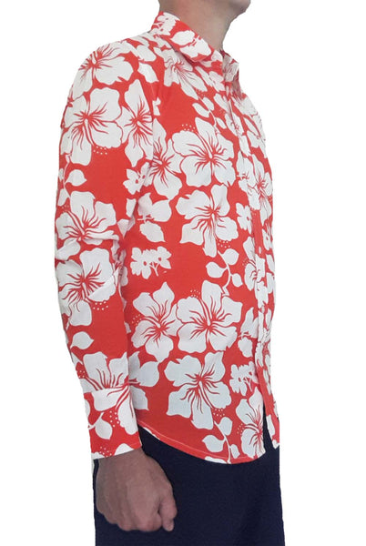Bent Banani Men's 100% Cotton, Long Sleeve, Floral Shirt - White Hibiscus Flowers On Red