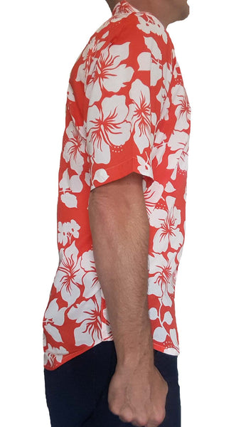 Bent Banani Men's 100% Cotton, Short Sleeve, Floral Shirt - White Hibiscus Flowers On Red