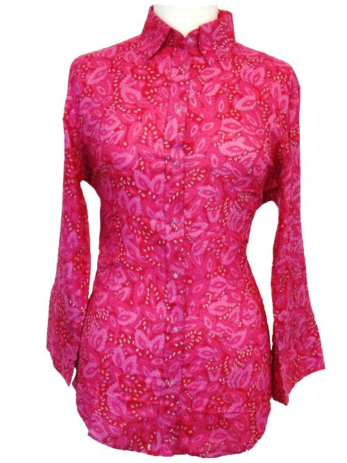 Bent Banani 100% Cotton, Ladies', Cuffed 3/4 Sleeve, Slim Fitting Floral Shirt - Bright Pink With Patterned Pink Paisley Type Flowers