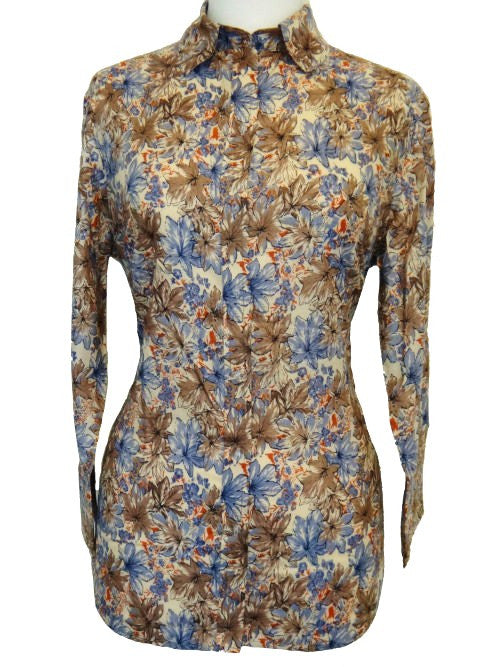 Bent Banani 100% Cotton, Ladies', Cuffed 3/4 Sleeve, Slim Fitting Floral Shirt - Mottled Blue & Grey Flowers
