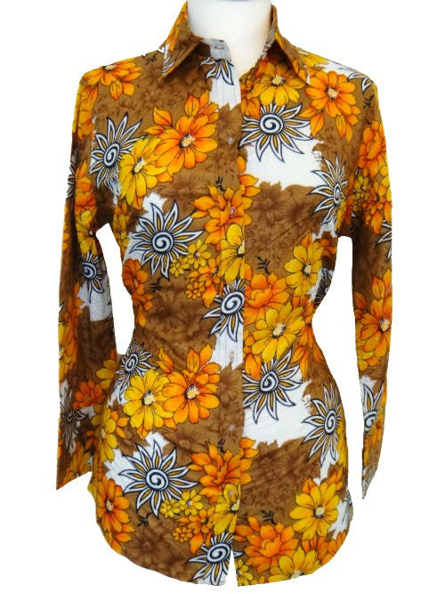 Bent Banani 100% Cotton, Ladies', Cuffed 3/4 Sleeve, Slim Fitting Floral Shirt  - Big Yellow, Orange, Brown, & White Flowers