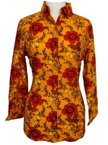 Bent Banani 100% Cotton, Ladies', Cuffed 3/4 Sleeve, Slim Fitting Floral Shirt - Orange With Red Flowers