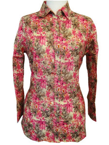 Bent Banani 100% Cotton, Ladies', Cuffed 3/4 Sleeve, Slim Fitting Floral Shirt - Mottled Pink & Grey Flowers