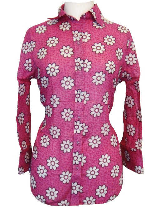Bent Banani 100% Cotton, Ladies', Cuffed 3/4 Sleeve, Slim Fitting Floral Shirt - Pink With White Daisy Like Flowers