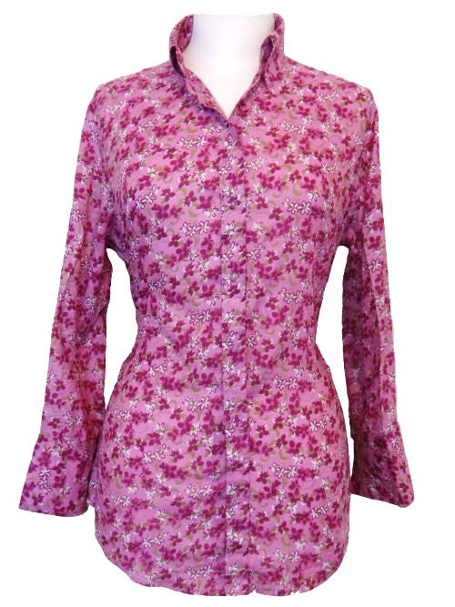 Bent Banani 100% Cotton, Ladies', Cuffed 3/4 Sleeve, Slim Fitting Floral Shirt - Pink With Small Pink & White Flowers