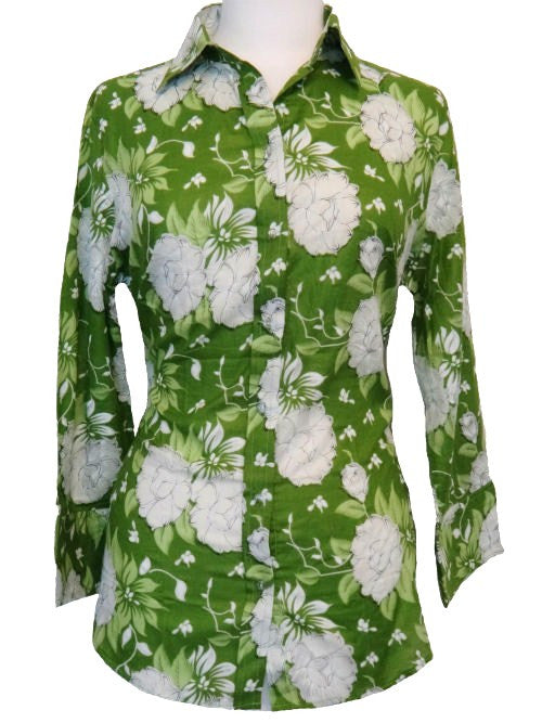 Bent Banani 100% Cotton, Ladies', Cuffed 3/4 Sleeve, Slim Fitting Floral Shirt - Green With White Flowers