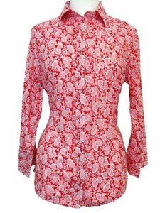Bent Banani 100% Cotton, Ladies', Cuffed 3/4 Sleeve, Slim Fitting Floral Shirt - Red Overlayed With Small White Roses