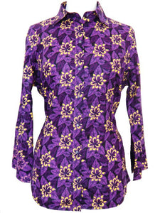 Bent Banani 100% Cotton, Ladies', Cuffed 3/4 Sleeve, Slim Fitting Floral Shirt - Purple Flowers With Yellow Flower Overlay