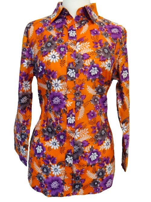 Bent Banani 100% Cotton, Ladies', Cuffed 3/4 Sleeve, Slim Fitting Floral Shirt - Orange With Purple & White Flowers
