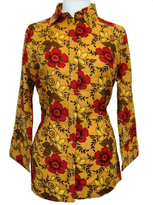 Bent Banani 100% Cotton, Ladies', Cuffed 3/4 Sleeve, Slim Fitting Floral Shirt - Yellow With Red Flowers
