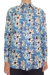 Bent Banani Men's, 100% Cotton, Long Sleeve, Floral Shirt - White & Black Flowers On Bright Light Blue