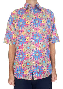 Bent Banani Men's, 100% Cotton, Short Sleeve, Floral Shirt - All-Over Blue, Yellow, Green, Pink, Sunflower Style Flowers
