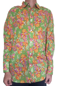 Bent Banani Men's 100% Cotton, Long Sleeve, Floral Shirt - Pink & Yellow Flowers On Green