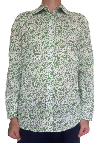 Bent Banani Men's 100% Cotton, Long Sleeve, Floral Shirt - Small White Flowers On Light Green