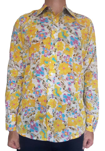 Bent Banani Men's 100% Cotton, Long Sleeve, Floral Shirt - Small Purple, Pink, & Yellow Flowers