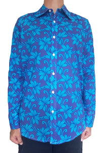 Bent Banani Men's, 100% Cotton, Long Sleeve, Floral Shirt - Light Blue Flowers On Royal Blue