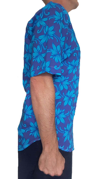 Bent Banani Men's 100% Cotton, Short Sleeve, Floral Shirt (Flawed) - Light Blue Flowers On Royal Blue