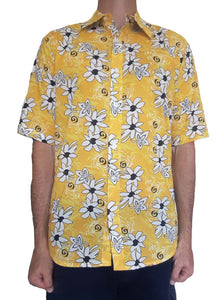 Bent Banani Men's, 100% Cotton, Short Sleeve, Floral Shirt - White & Black Flowers On Bright Yellow