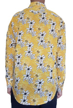 Bent Banani Men's, 100% Cotton, Long Sleeve, Floral Shirt - White & Black Flowers On Bright Yellow