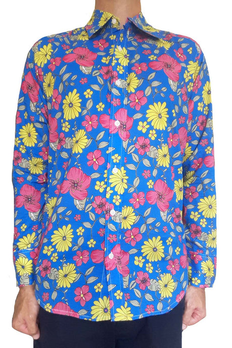 Bent Banani Men's, 100% Cotton, Long Sleeve, Floral Shirt - Pink & Yellow Flowers On Light Blue