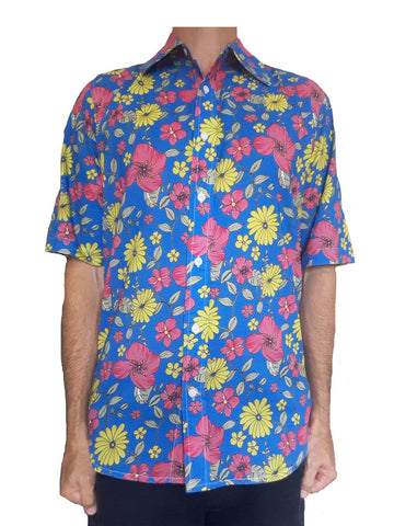 Bent Banani Men's, 100% Cotton, Short Sleeve Floral Shirt (Flawed) - Pink & Yellow Flowers On Light Blue