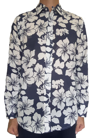 Bent Banani Men's, 100% Cotton, Long Sleeve, Floral Shirt - White Hibiscus Flowers On Dark Navy