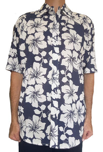 Bent Banani Men's 100% Cotton, Half Sleeve, Floral Shirt - White Hibiscus Flowers On Dark Navy