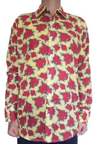 Bent Banani Men's, 100% Cotton, Long Sleeve, Floral Shirt - Red Flowers On Yellow