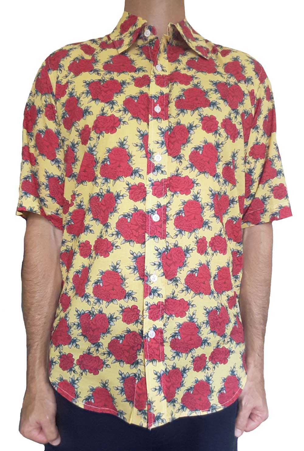 Bent Banani Men's, 100% Cotton, Short Sleeve, Floral Shirt - Red Flowers On Yellow