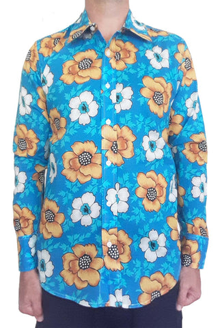 Bent Banani Men's 100% Cotton, Long Sleeve, Floral Shirt - White & Yellow Flowers On Royal Blue