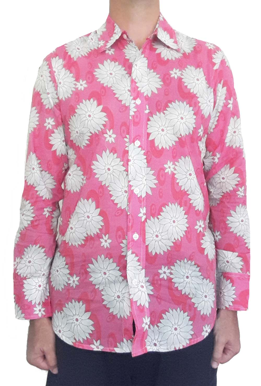 Bent BananiBent Banani Men's, 100% Cotton, Long Sleeve, Floral Shirt - White Flowers On Pink