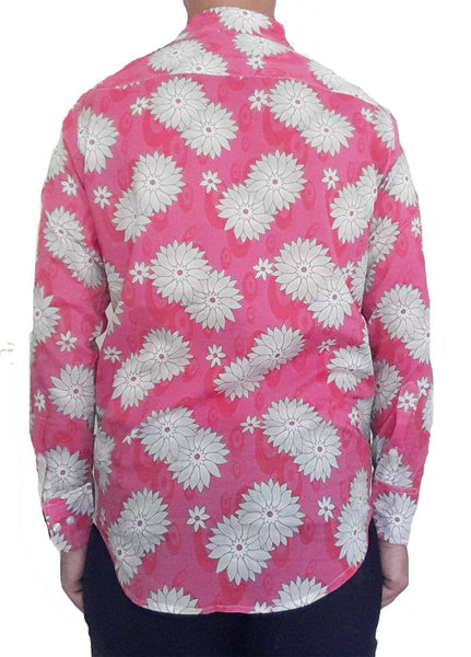 Bent Banani Men's, 100% Cotton, Long Sleeve, Floral Shirt - White Flowers On Pink
