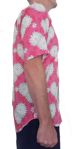 Bent Banani Men's, 100% Cotton, Short Sleeve, Floral Shirt - White Flowers On Pink