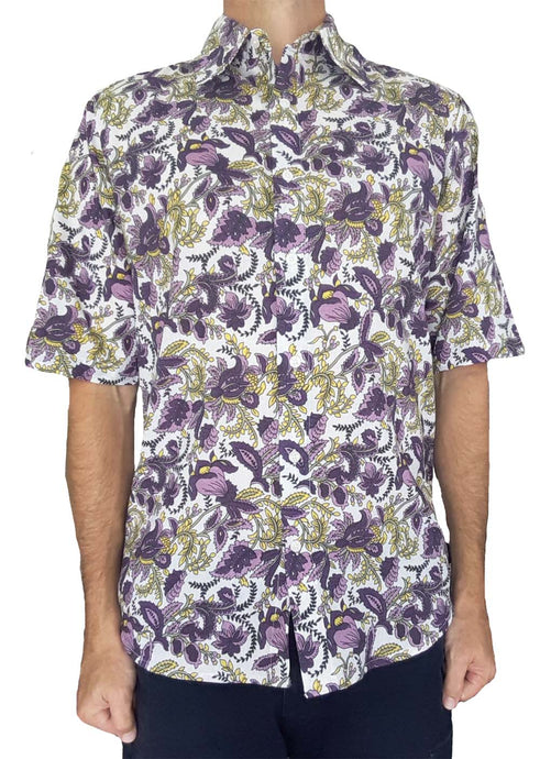 Bent Banani Men's, 100% Cotton, Short Sleeve, Floral Shirt - Purple & Yellow Flowers On White