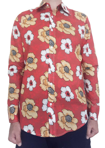 Bent Banani 100% Cotton, Long Sleeve, Floral Shirt - White & Yellow Flowers On Red