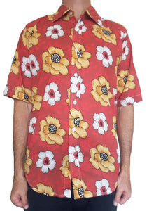 Bent Banani Men's 100% Cotton, Short Sleeve, Floral Shirt (Flawed) - White & Yellow Flowers On Red