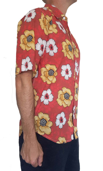 Bent Banani Men's 100% Cotton, Short Sleeve, Floral Shirt - White & Yellow Flowers On Red