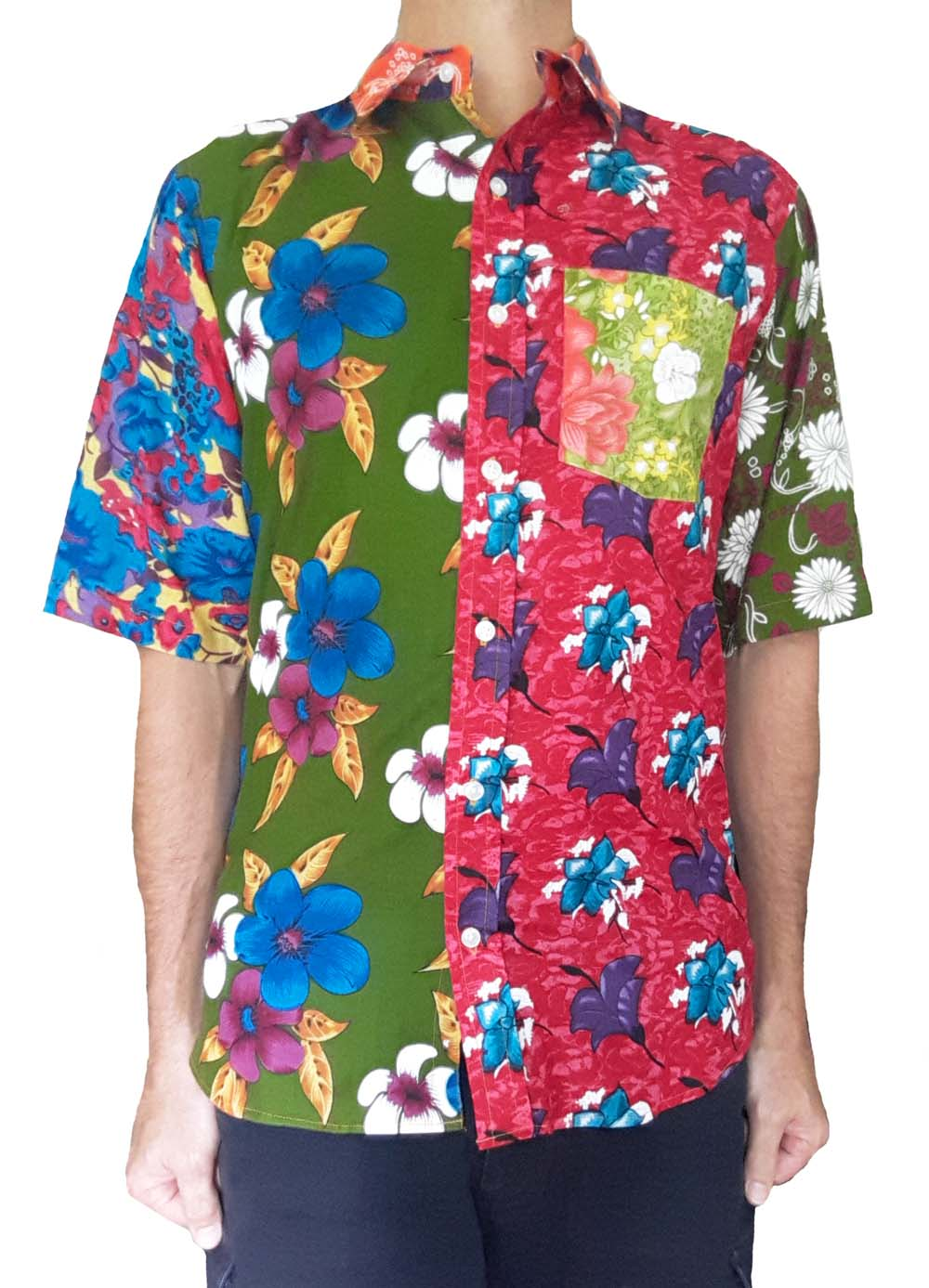 Bent Banani Men's, 100% Cotton, Short Sleeve Unique Floral Shirt - Made of 9 Different Floral Fabrics