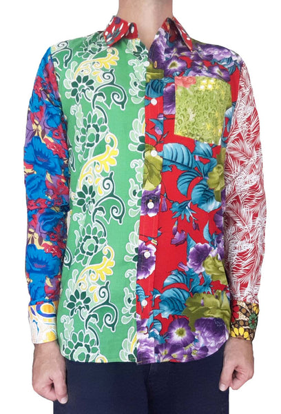 Bent Banani Men's, 100% Cotton, Long Sleeve Unique Floral Shirt - Made of 13 Different Floral Fabrics