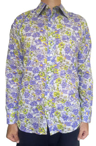 Bent Banani Men's 100% Cotton, Long Sleeve, Floral Shirt - Small Purple & Yellow Flowers