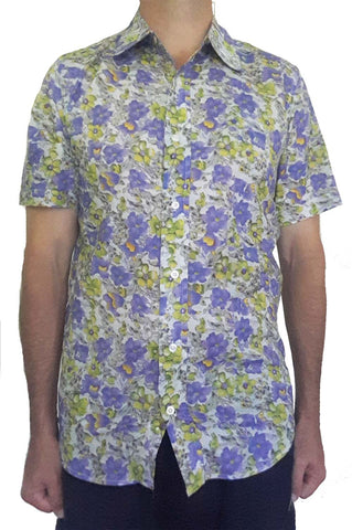 Bent Banani Men's 100% Cotton, Short Sleeve, Floral Shirt (Flawed) - Small Purple & Yellow Flowers