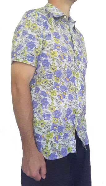 Bent Banani Men's 100% Cotton, Short Sleeve, Floral Shirt - Small Purple & Yellow Flowers