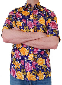 Bent Banani Short Sleeve Floral Shirt - ALFIE - Big Gold & Pink Flowers On Deep Navy Blue